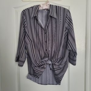 Oversized Striped Tie-Front Shirt